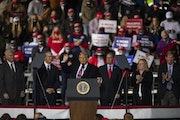 President Donald Trump's remarks at a campaign rally in Bemidji on Friday, Sept. 18, included both negative references to refugees and praise for th