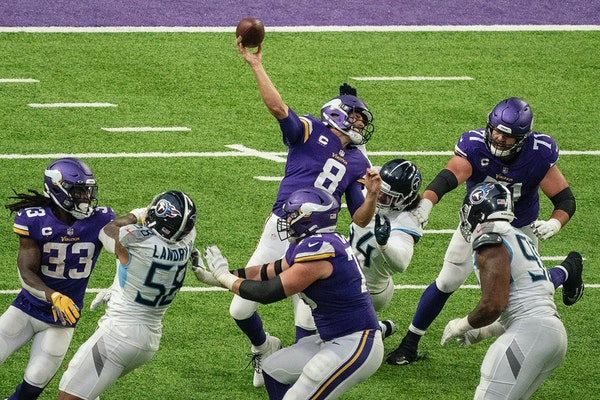 Vikings quarterback Kirk Cousins was pressured on a Hail Mary pass near the end of the game.