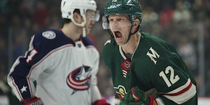 Eric Staal celebrated a goal on Feb. 25 at Xcel Energy Center.