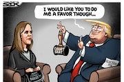 Sack cartoon: One quick favor ...