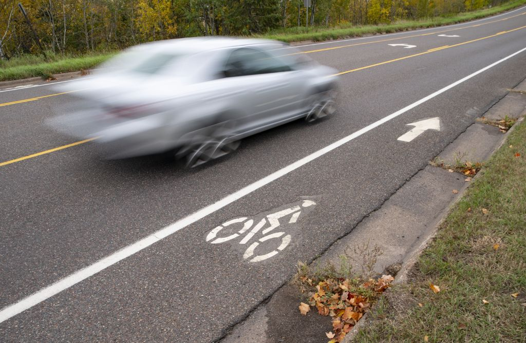 Pecan Avenue in Duluth has one of the relatively few bike lanes in the city.