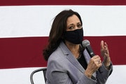 """Vice presidential candidate Sen. Kamala Harris, shown Monday in Raleigh, N.C., told the DFL the path to the presidency """"runs straight through Minnes"""