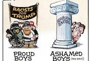 Sack cartoon: Proud Boys and ashamed boys (and girls)