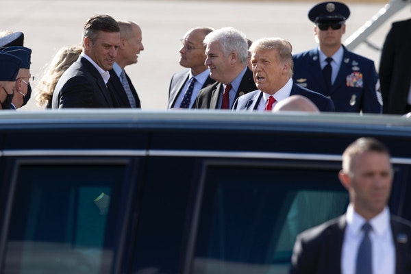 President Donald Trump arrived at Minneapolis-St. Paul International Airport on Wednesday.