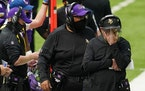 Vikings coach Mike Zimmer pressed his head into his hand as he watched from the sidelines in the second quarter against the Titans on Sunday.
