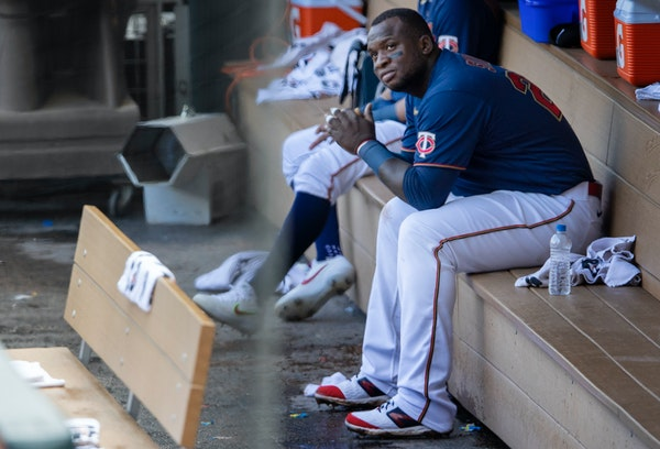 Minnesota Twins Miguel Sano on the dugout at the end of the game.