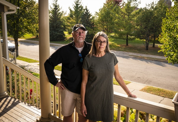 Lynne Snediker and her partner, Richard Fuerstenberg, oppose turning Bethesda Hospital, across the street, into a shelter.