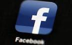 The Facebook app logo on a mobile device in Philadelphia.