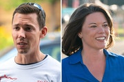 Republican Tyler Kistner, left, is challenging Rep. Angie Craig in Minnesota's Second District race.