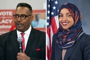 Republican challenger Lacy Johnson and Democratic Rep. Ilhan Omar
