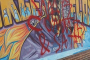 The latest vandalism to the George Floyd mural at 38th Street and S. Chicago Avenue S. was noticed Monday and shared on the Black Lives Matter Minneso