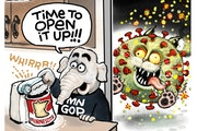 Sack cartoon: Time to open up!