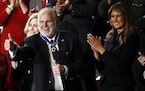 In 2020, Rush Limbaugh reacted after First Lady Melania Trump presented him with the the Presidential Medal of Freedom as President Donald Trump deliv