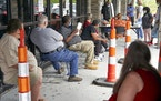 Job seekers waited to be called into the Heartland Workforce Solutions office in Omaha in July.