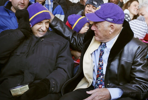 Sid Hartman and Bud Grant (shown in 2014) met when Grant arrived at the University of Minnesota from Superior, Wis., in 1946. Despite having little in