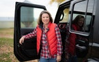 U.S. Rep. Angie Craig visited the Welch, Minnesota, farm of Les Anderson in October 2020.