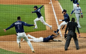 The scene at home plate after the Rays defeated the Dodgers in Game 4 on Saturday night.