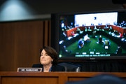 Sen. Amy Klobuchar (D-Minn.) attends a Senate Judiciary Committee business meeting in Washington, Oct. 15, 2020, on the fourth day of the confirmation