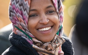 U.S. Rep Ilhan Omar spoke to campaign staffers and volunteers in Powderhorn Park in Minneapolis while campaigning this fall.
