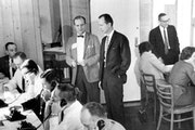 On Dec. 20, 1962, Tom Swain, Gov. Elmer Andersen's recount administrator, stood in a dark suit, center, as the gubernatorial recount carried on arou