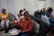 LesleyAnne Crosby of Minneapolis gathered with a small group of Black women in St. Paul to witness the possibility of Kamala Harris becoming the first