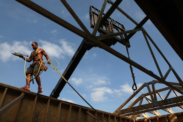 In 2018, carpenter Caleb Morrison worked to frame out a home in Inver Grove Heights.