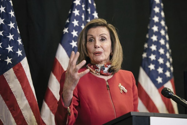 Speaker of the House Nancy Pelosi, D-Calif., talks to reporters about Election Day results in races for the House of Representatives, at Democratic Na