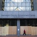 Doors and windows are boarded up at the Hennepin County Government Center in downtown Minneapolis amid worries about violent responses to the general