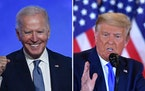 The presidential candidates took the stage early Wednesday: Democrat Joe Biden, left, spoke in Wilmington, Del., while President Donald Trump made com