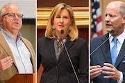 Gov. Tim Walz, left, House Speaker Melissa Hortman, center, and Senate Majority Leader Paul Gazelka.