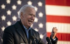 Former Vice President Joe Biden spoke during a drive-in campaign event in Falcon Heights on Friday, Oct. 30, 2020.