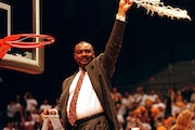 The biggest victory in Clem Haskins' coaching career, winning the Midwest Regional final over UCLA in 1997, is no longer officially part of NCAA or