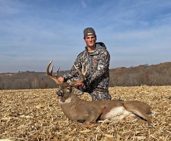 Jake Gonse, 16, of Anoka, felled this monster 12-pointer in Houston County on opening morning. His grandfather, retired Star Tribune outdoors columnis