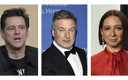 FILE - Jim Carrey, left, appears in an Aug. 2, 2019, photo in Beverly Hills, Calif. Alec Baldwin, middle, appears in a Nov. 21, 2019, photo in New Yor