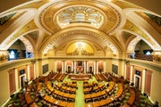 With most legislators working remotely, members present on the Minnesota House floor stood for the Pledge of Allegiance at the start of the fifth spec