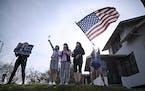 Joe Biden supporters celebrated Saturday at Nicollet Avenue and E. 40th Street in Minneapolis.