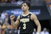 Purdue's Carsen Edwards has scored 25 or more points in each of his past four NCAA tournament games, dating to last year.
