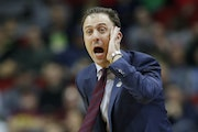 Gophers coach Richard Pitino directs his team during Thursday's first-round game against Louisville in the NCAA Tournament.