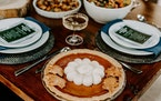 D'Amico's feeds-six celebration ($195) that includes wild rice salad, sweet potatoes with brown butter, green bean casserole, smashed potatoes, sausag