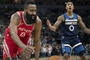 James Harden (13) was fouled in the third quarter. ] CARLOS GONZALEZ ï cgonzalez@startribune.com ñ April 23, 2018, Minneapolis, MN, Target Center, N