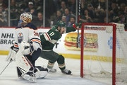 Wild star Zach Parise celebrated his first of two goals against the Oilers on Monday night.