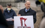 """Senate Majority Leader Paul Gazelka spoke at an Oct. 19 news conference where Republican state leaders announced a """"Contract to Open Up Minnesota."""" On"""