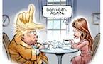 Sack cartoon: Trump's bed head