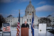 Gov. Tim Walz spoke at the Capitol on Veterans Day, Nov. 11, about the problem of homelessness for veterans in Minnesota.