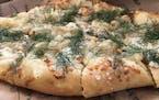 Pear, Gorgonzola and pine nut pizza at Boludo