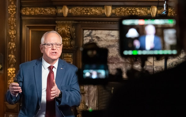 Minnesota Gov. Tim Walz spoke to Minnesotans Nov. 18 from the governor's reception room at the State Capitol.