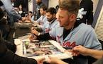 Josh Donaldson signed autographs at TwinsFest on Jan. 24.