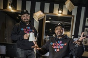 Dogwood Coffee founder Dan Anderson, left, helped Houston White with his efforts to launch The Get Down Coffee Co. in north Minneapolis.