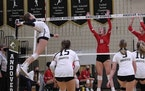 Avery Bolles, Andover volleyball, soph. in action vs. Coon Rapids in 2020