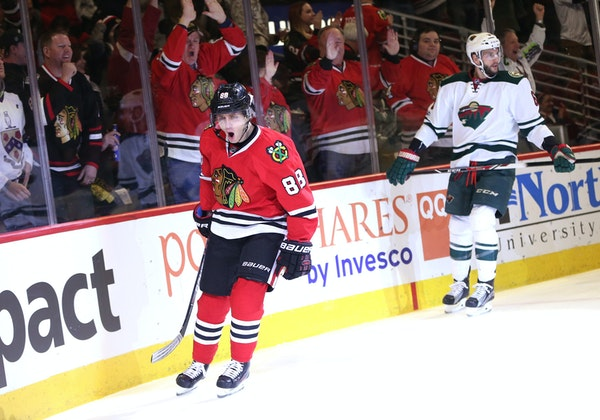 Chicago Blackhawks right wing Patrick Kane (88) celebrates after his goal against the Minnesota Wild during the first period on Sunday, Jan. 15, 2017